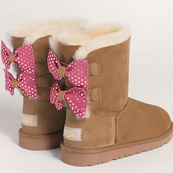Authentic UGG pink bow boots- girls size 12